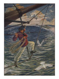 Illustration Of Canadian Brandishing Harpoon