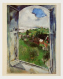 Window with View on the Island Bréhat, c.1924 Reproduction d'art par Marc Chagall