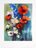 Red Poppies and Delphinium