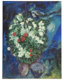 Bouquet avec Flying Lovers Reproduction d'art par Marc Chagall