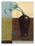 Ebony Vase with Blue Tulips I