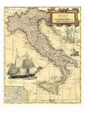 Carte d'Italie Reproduction d'art
