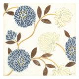 Blue and Cream Flowers on Silk II
