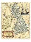 Carte des îles britanniques Reproduction d'art par Vision Studio
