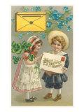 Bonne et Heureuse Annee  Victorian Children with Letter