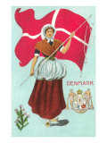Danish Girl with Flag