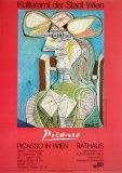 Woman with a Hat on Blue Reproduction d'art par Pablo Picasso