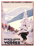 Sports d'hiver dans les Vosges Giclée par Roger Broders