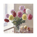 Dahlias and Fruit