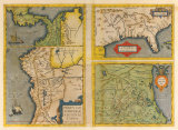 Peruviae Auriferae Regionis Typus Patent & La Florida (Latin America and Florida)  1584