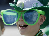 Waiting for Candy and Beads During the Annual St Patrick's Day Parade in Indianapolis