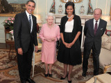President Obama and His Wife Pose with Queen Elizabeth II and Prince Philip  During an Audience at