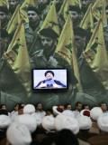 Shiite Cleric Men Listen to Hezbollah Leader Sheik Hassan Nasrallah Giving Speech  Beirut  Lebanon