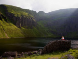 Young Woman Meditating  Coumshingaun Lough  Coeragh Mountains  County Waterford  Ireland