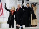 Barack Obama  Joe Biden and Their Wives Wave During the Inaugural Celebration at Lincoln Memorial