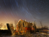 45-Minute Exposure for Circular Star Tracks over This Run-Down Barn Near Iron River  Wisconsin