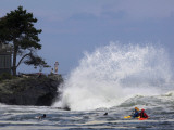 Photographing Heavy Surf Generated by Hurricane Bill While Kayakers and Surfers Wait for a Wave to