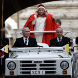 Pope Benedict XVI on His Popemobile  Arriving for the Weekly Audience in St Peter's Square at the