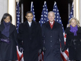 Barack Obama and the Joe Biden  Along with Their Wives  are Introduced at the War Memorial Plaza