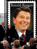 Former First Lady and Giant Replica of US Postage Stamp Honoring Late Husband  Ronald Reagan