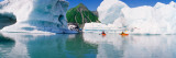 Kayakers in the Lake  Bear Glacier Lake  Kenai Fjords National Park  Alaska  USA