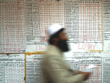 Electoral Worker Passes Election Results Posted on Wall at a Counting Center in Kabul  Afghanistan
