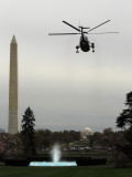 Marine One  with President Barack Obama Aboard  Leaves the White House in Washington