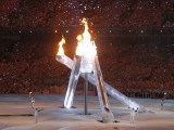 Wayne Gretzky and Others with Burning Olympic Cauldron  Opening Ceremonies for the XXI Winter Games