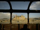 Afghan Drives Past the Darul Aman's Palace in the City of Kabul  Afghanistan