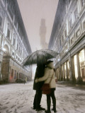 Couple Kiss Each Other During a Snowfall in Florence  Italy