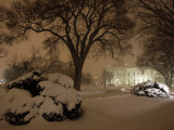 Snow Covers the Lawn in Front of the White House in Washington