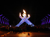 Surrounding the Olympic Flame after the Opening Ceremony of the Vancouver 2010 Olympics
