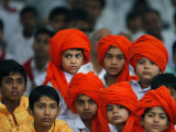 Children Attend a Function by Indian Spiritual Leader Sathya Sai Baba in New Delhi