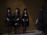 Women Wearing the Traditional Mantilla in Front of La Macarena Church in Seville  Spain