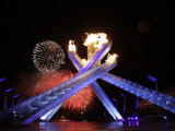 Fireworks Explode Behind the Olympic Flame at Opening Ceremony of Vancouver 2010 Winter Games