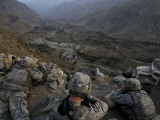 US Soldiers Take an Overwatch Position on a Mountain Top in the Pech Valley  Afghanistan