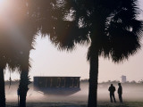Taking Photos in the Fog Near the Countdown Clock for Space Shuttle Discovery  in Cape Canaveral