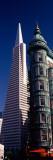 View of Towers  Columbus Tower  Transamerica Pyramid  San Francisco  California  USA