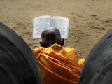Sri Lankan Buddhist Monk Reads Holy Scriptures on First Day of their New Year at Kelaniya Temple