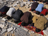 Palestinians Pray in Rubble of Mosque Destroyed in Israeli Military Offensive  Northern Gaza Strip