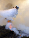 Los Angeles City Fire Helicopter Drops Water on a Hot Spot in the Angeles National Forest