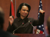 United States Secretary of State Condoleezza Rice Gestures at a News Conference
