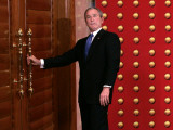 President George W Bush as He Tries to Open a Locked Door Leaving a Press Conference in Beijing