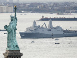 New Navy Assault Ship USS New York  Built with World Trade Center Steel  Passes Statue of Liberty
