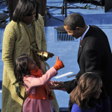 President Barack Obama is Congratulated by his Daughter after Taking the Oath of Office  Washington