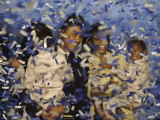 Senator-Elect Barack Obama and Family Covered in Confetti after He Delivered His Acceptance Speech