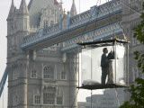 David Blaine  the American Illusionist and Street Magician in Front of Tower Bridge in London