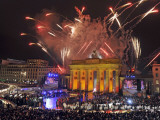 Fireworks at the Brandenburg Gate in Berlin  Germany Commemorating the Fall of the Berlin Wall
