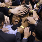 Barack Obama  Covered in Hands after His Primary Election Night Speech in St Paul  Minnesota