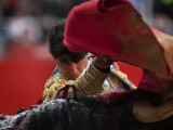 Bullfighte Performs During a Bullfight at the Monumental Bullring in Barcelona